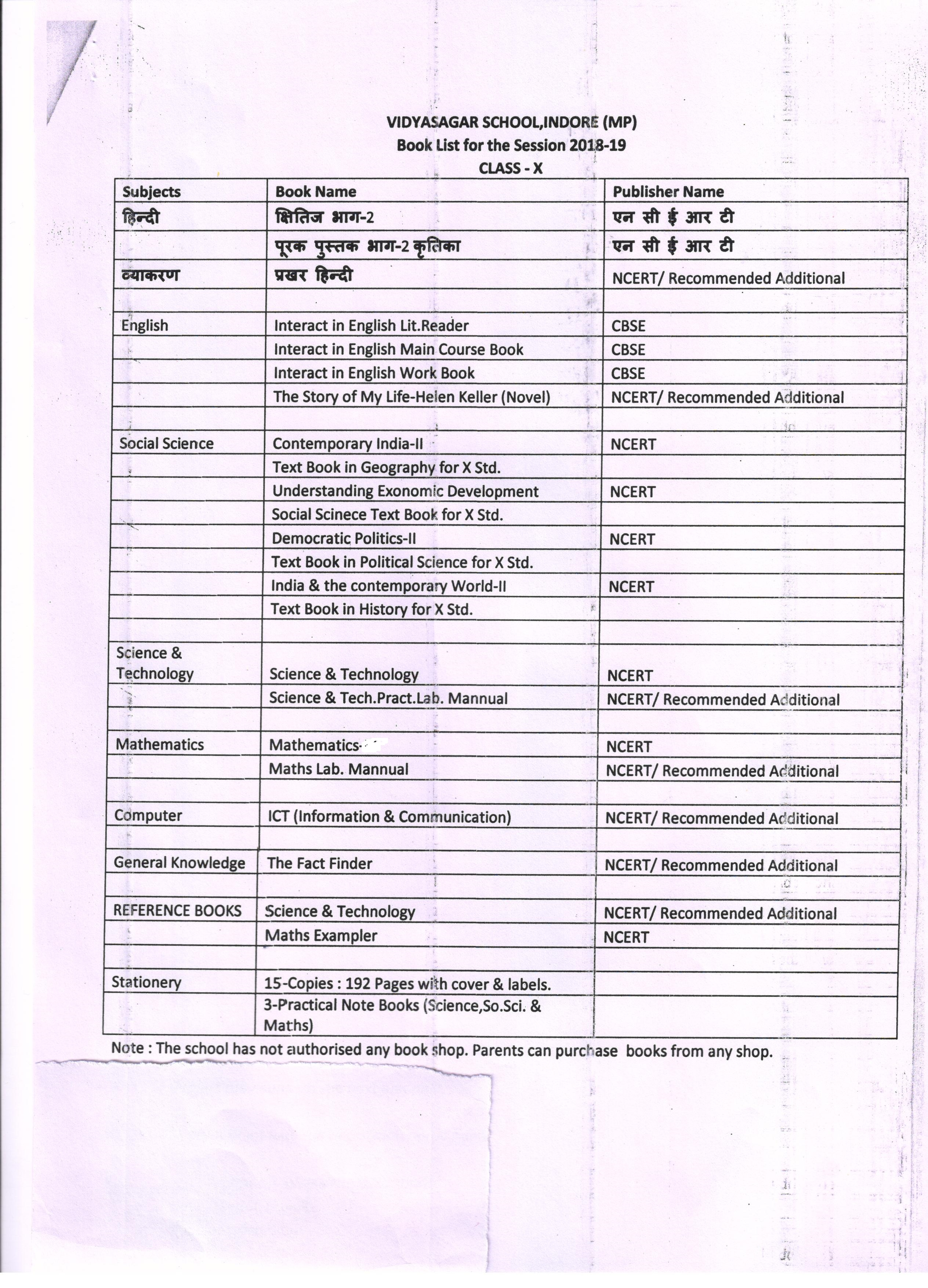 Book List for the Classes Nur  to XII Session-2018-19 | vidyasagar
