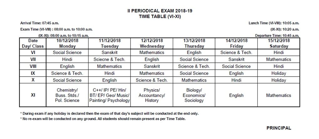 Ist Pre-Board Exam Time Table Class-XII(2018-19)