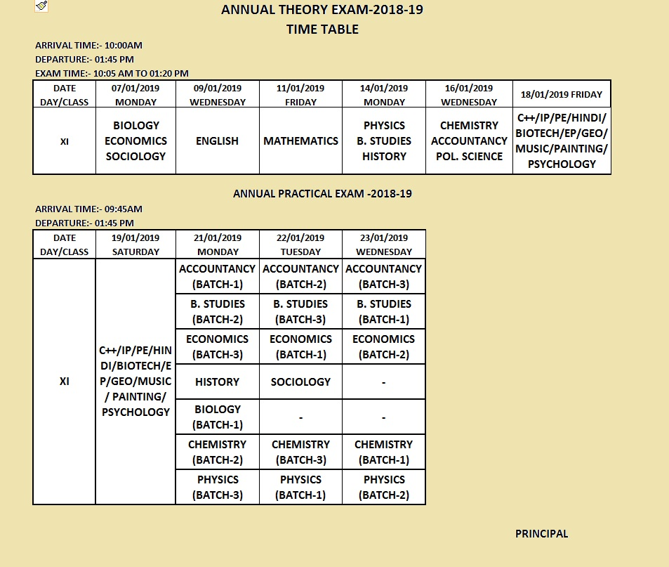 Annual Exam Time Table Class XI