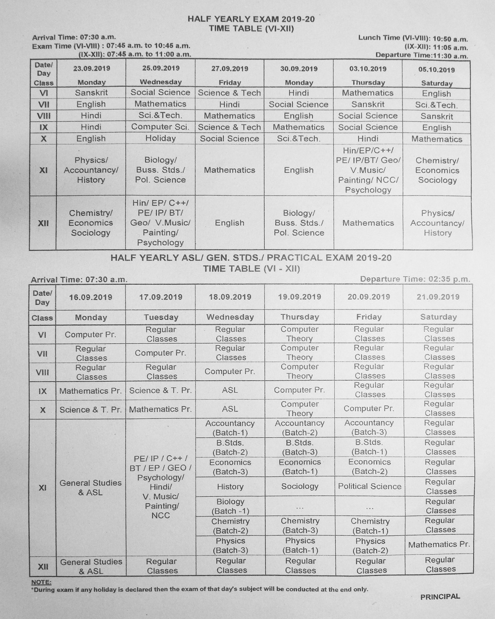 Half Yearly Exam Time Table-2019-20