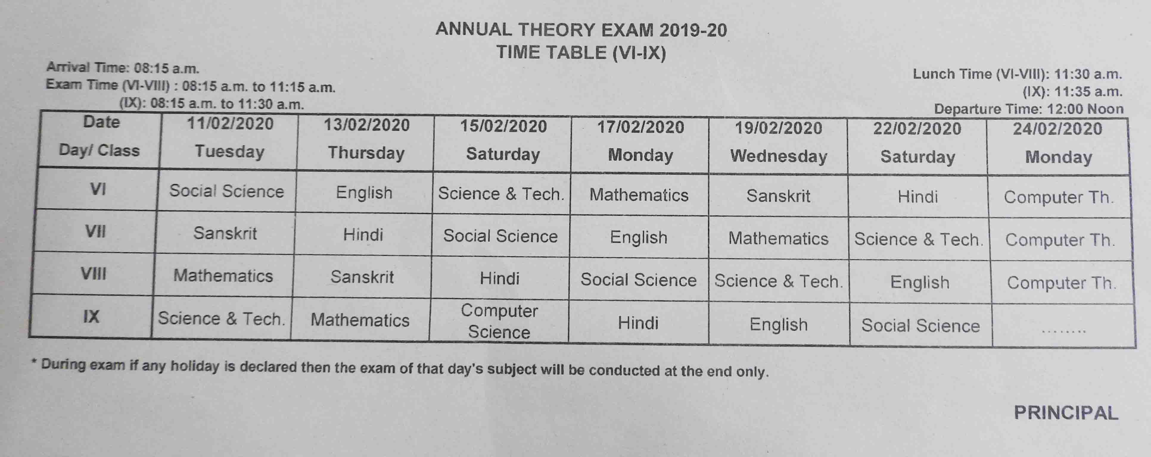 Annual Exam Date Sheet