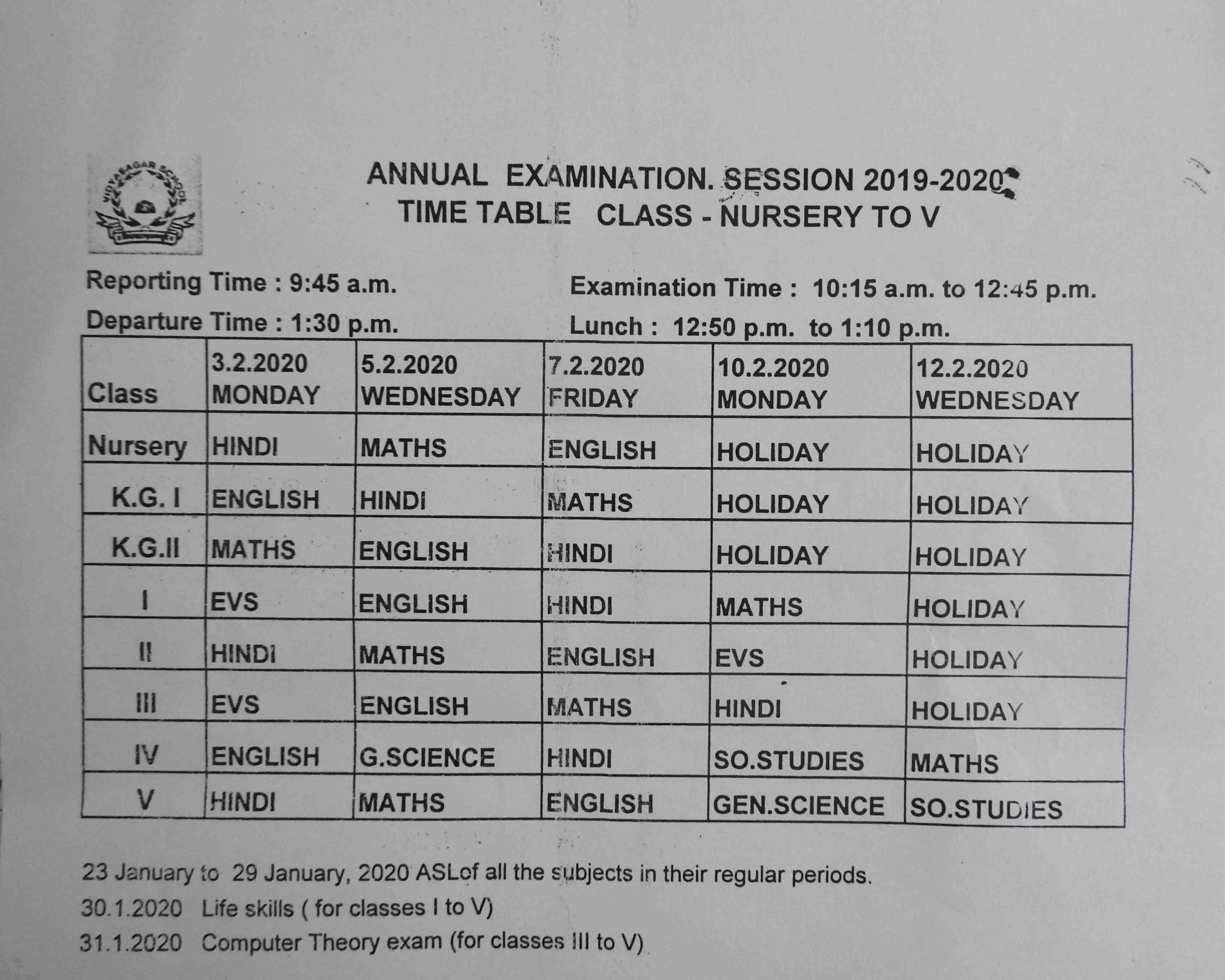 Annual Exam Date Sheet of Classes Nur to V