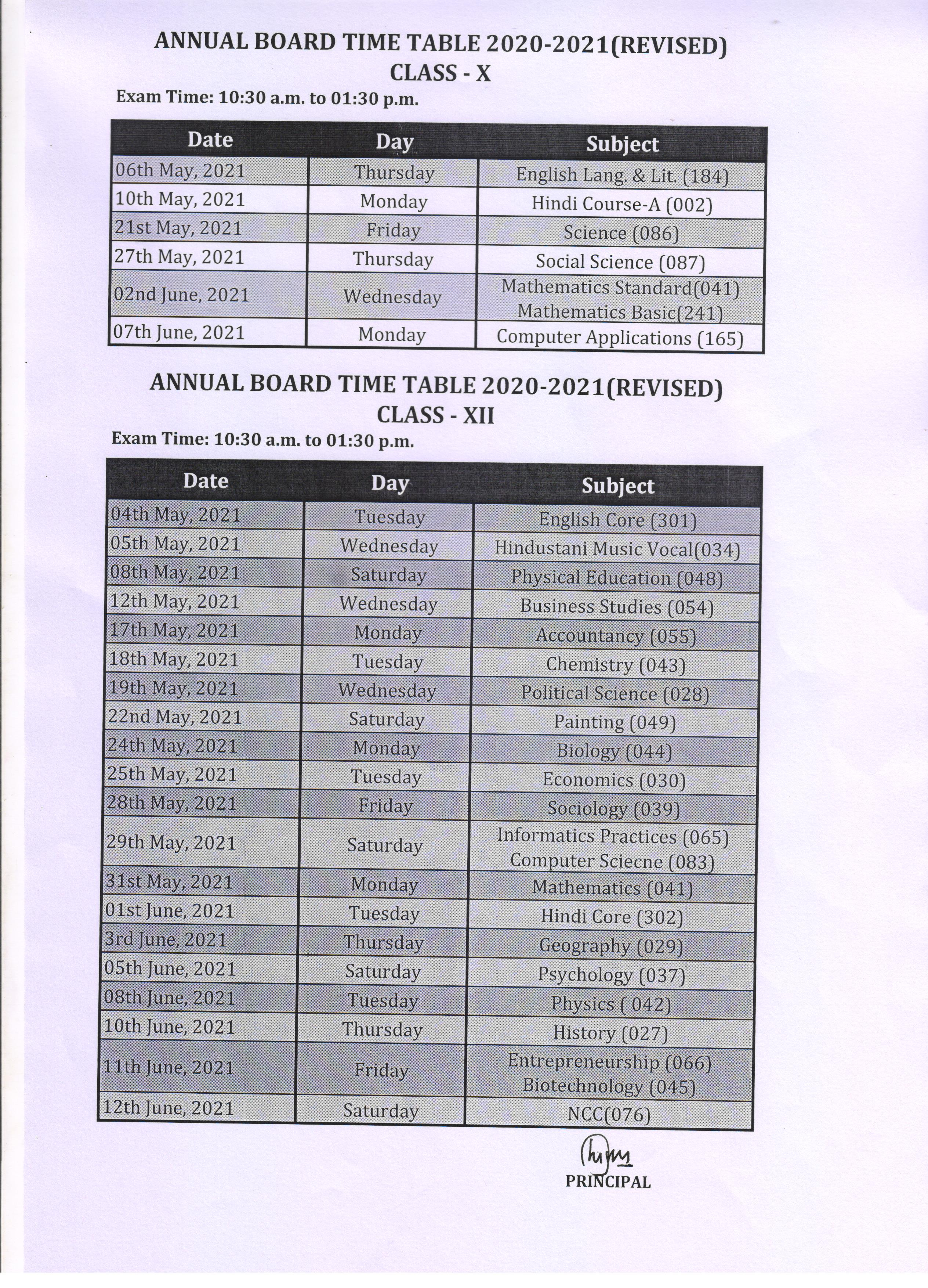Annual Time Table