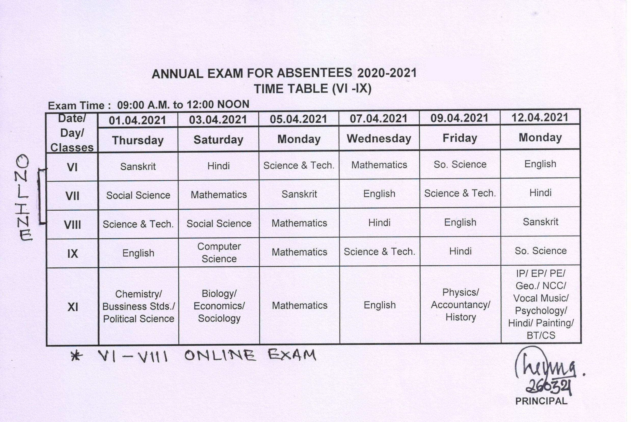 Absentees Time Table